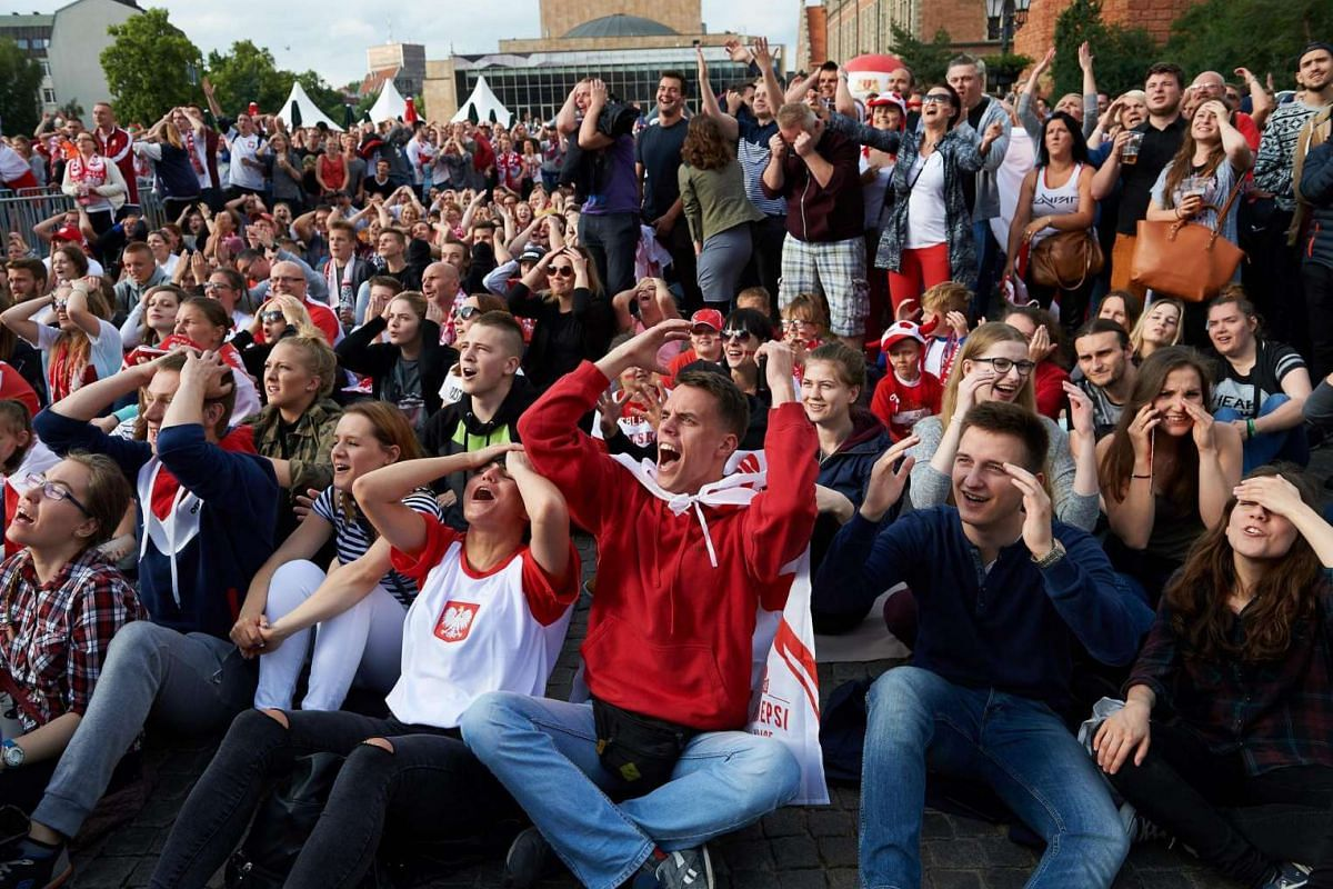 Poland fans react during the match between Ukraine and Poland on June 21, 2016.