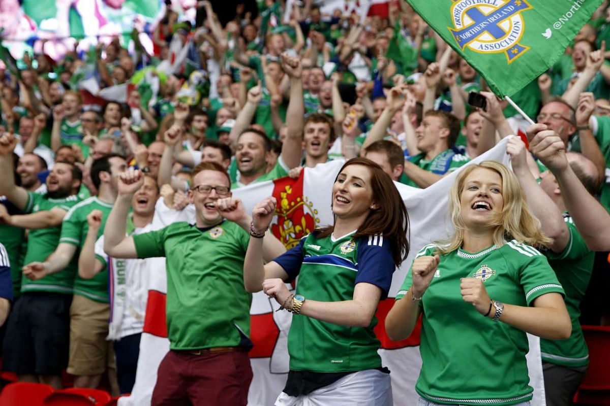 Northern Ireland fans after the game between Northern Ireland and Germany on June 21, 2016.