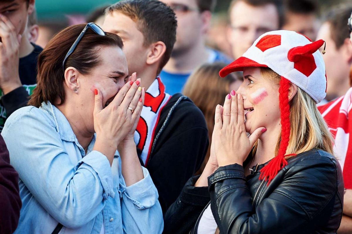 Poland fans celebrate during the match between Ukraine and Poland on June 21, 2016.