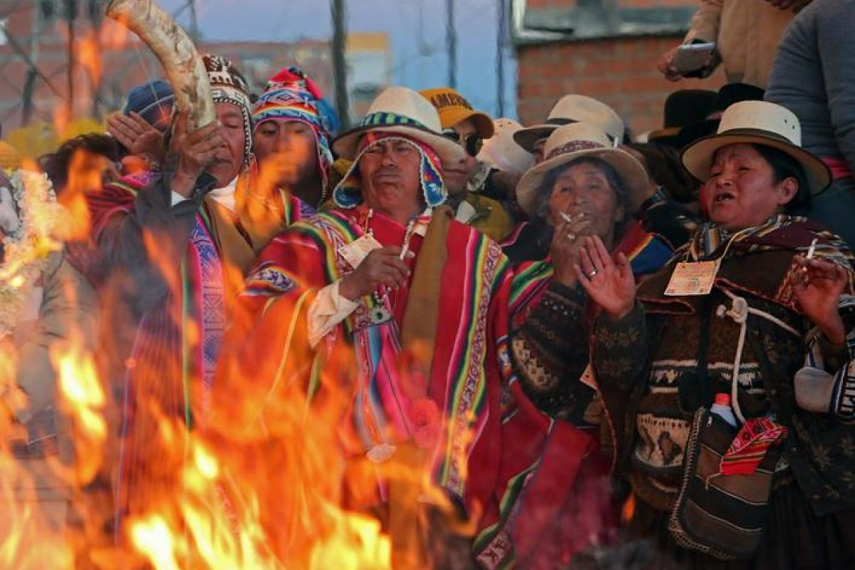 Local priests celebrate the 'Aimara New Year', an Andean Bolivian traditional festival that marks the winter solstice in El Alto, Bolivia on June 21, 2016. Aimara or Aymara means the Return of the Sun.