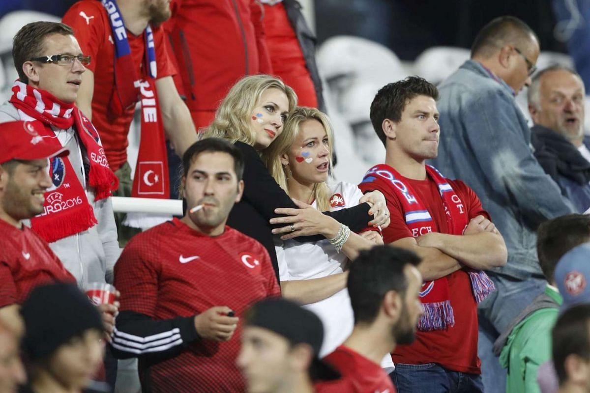 Czech Republic fans react after the match between Czech Republic and Turkey on June 21, 2016.