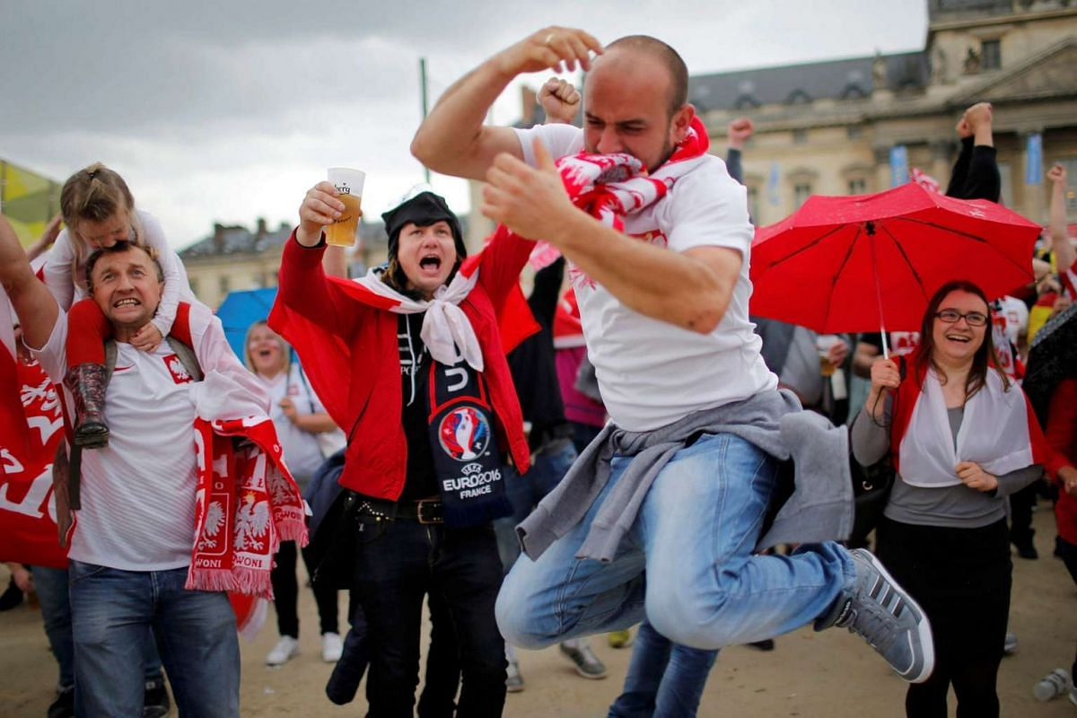 Poland fans celebrate a goal in the match between Ukraine and Poland on June 21, 2016.