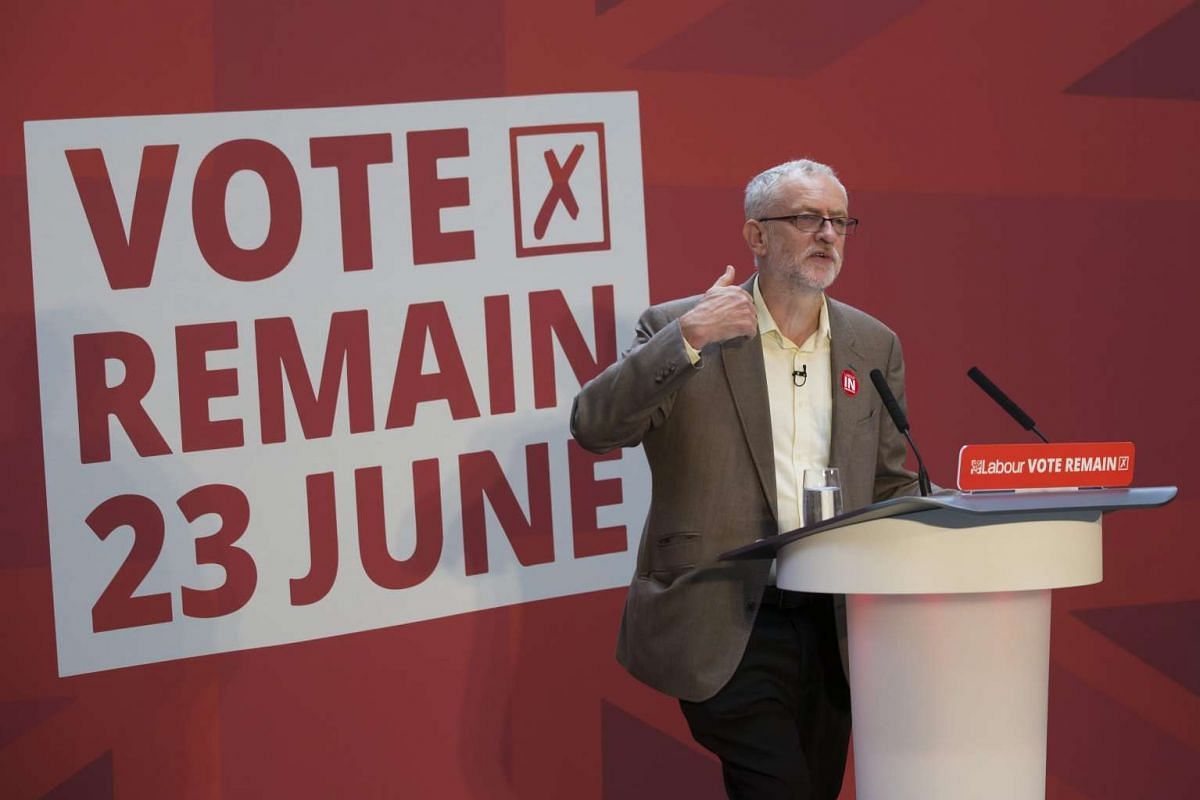 """Leader of the British Labour Party, Jeremy Corbyn speaks at a """"Vote Remain"""" event at Manchester's People's History Museum in Manchester, on June 21, 2016."""