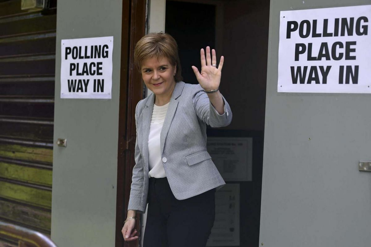 Scotland's First Minister Nicola Sturgeon leaves after voting in the EU referendum at Broomhouse Community Hall in Glasgow, Scotland, on June 23, 2016.