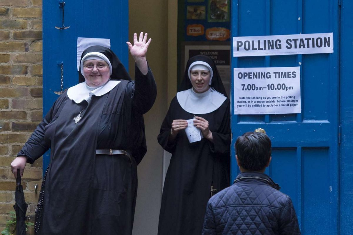 Nuns leave a polling station after voting in the EU referendum in London on June 23, 2016.