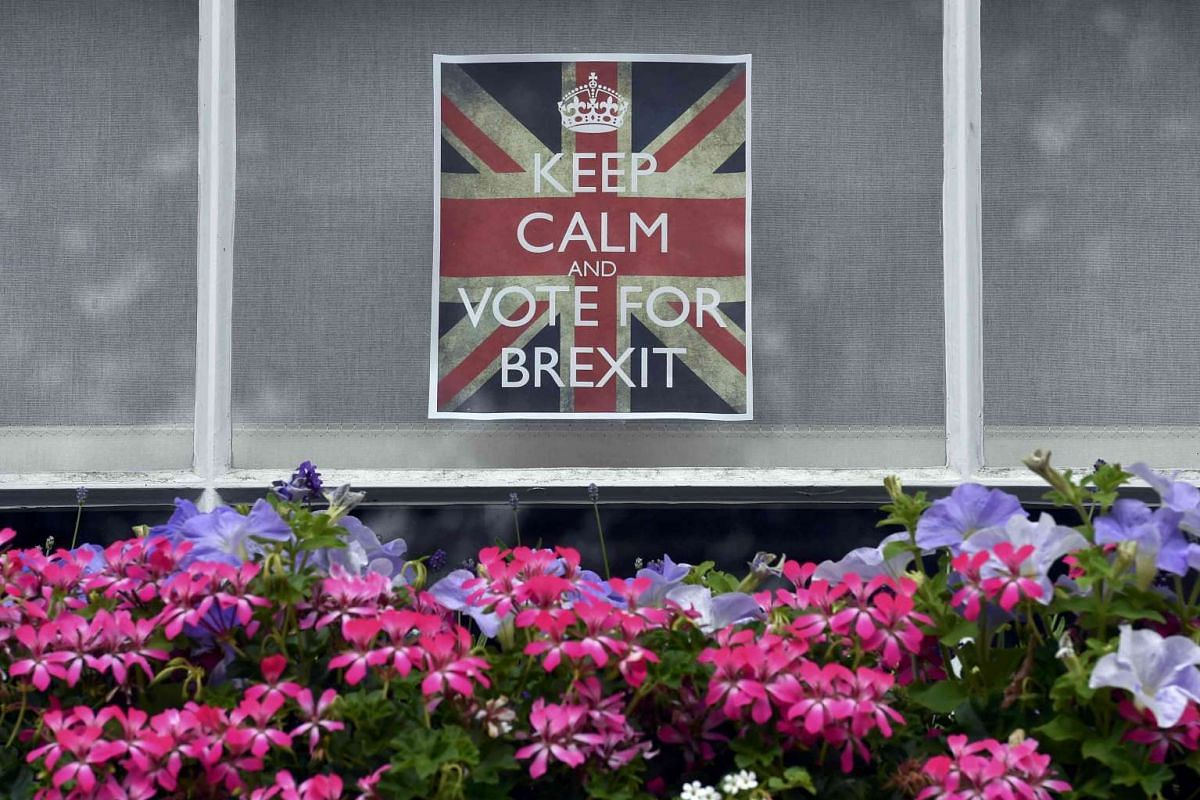 Vote Leave posters are seen in a window in Chelsea, London, on June 23, 2016.