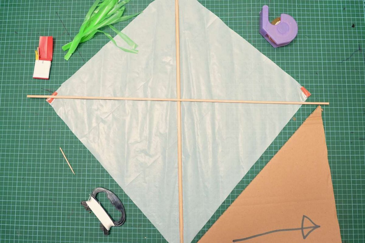 HOW TO MAKE A KITE: 1. Fold the sail into half to get the centre line.