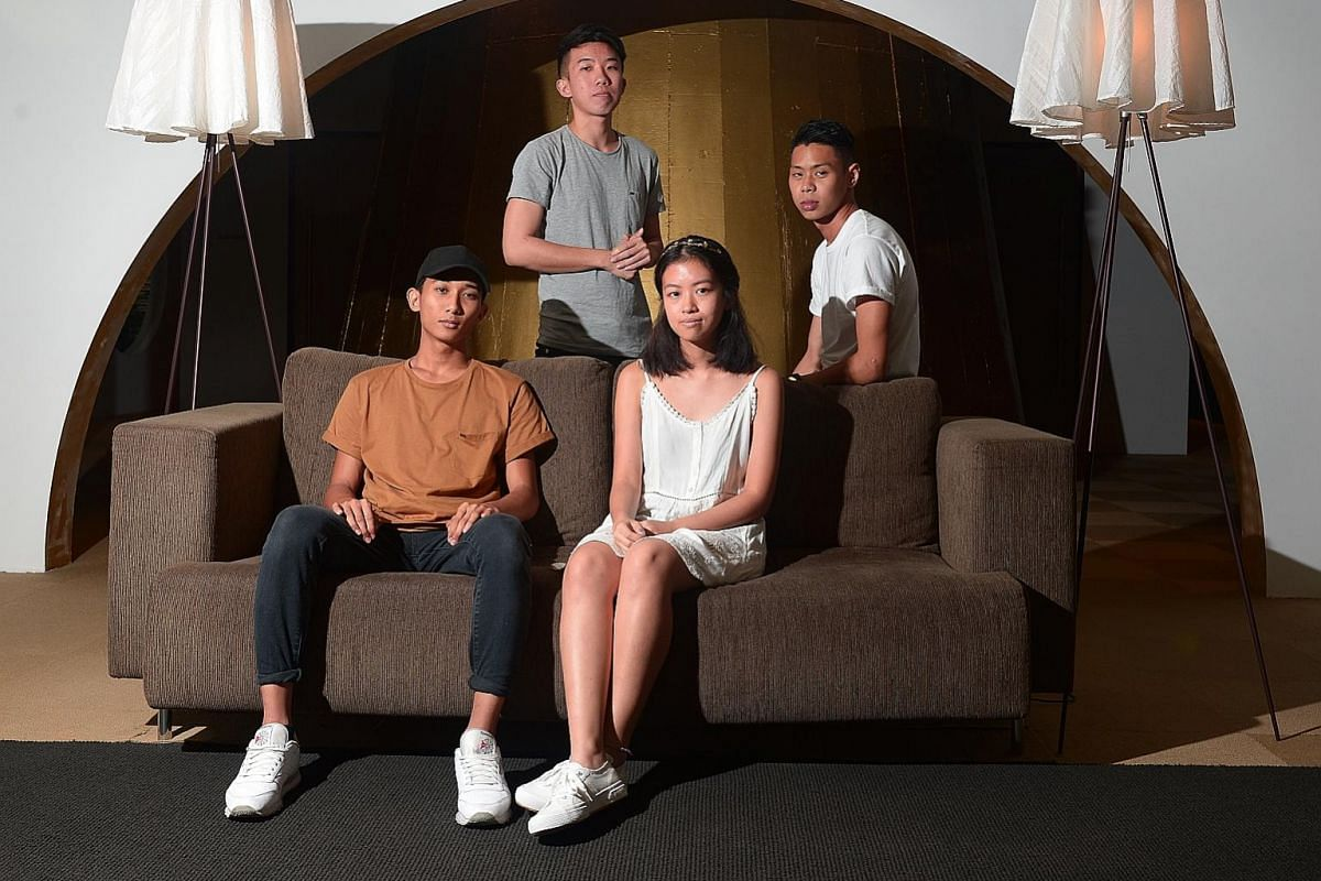 (From far left) Auzaie Mohamad Khanafi, Billy Chua, Sherlyn Leo and Rush Ang form Disco Hue. Tell Lie Vision comprise (from left) Lester Chua, Hasif Jasman, Irfan Samsuri, Vikkash Suruchand and Hairul Azman.