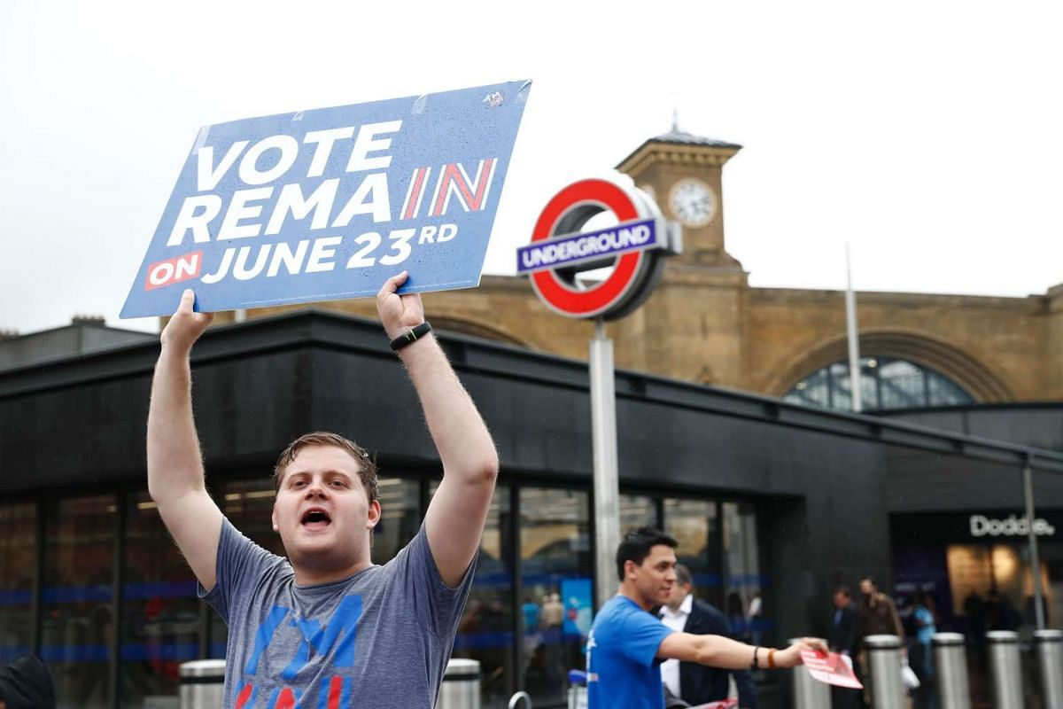 """A """"Vote Remain"""" activist urges people to vote outside Kings Cross station in central London on June 23, 2016."""