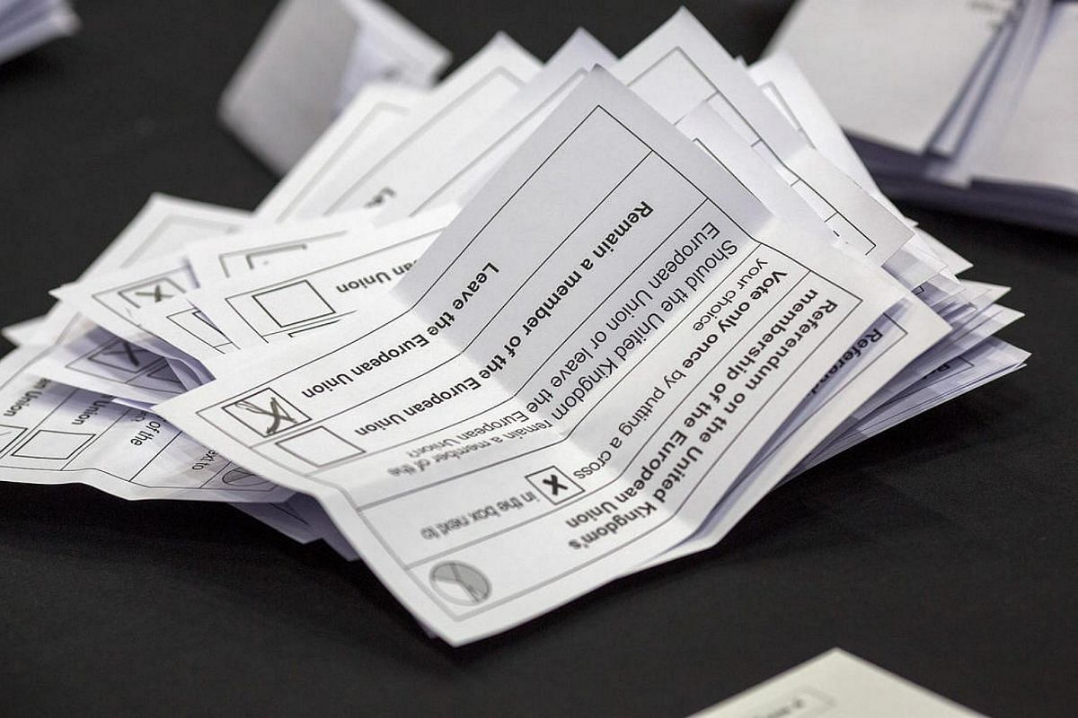 Voting slips in the European Union (EU) referendum sit to the table ready to be counted at Manchester Central Convention Complex in Manchester on June 23.
