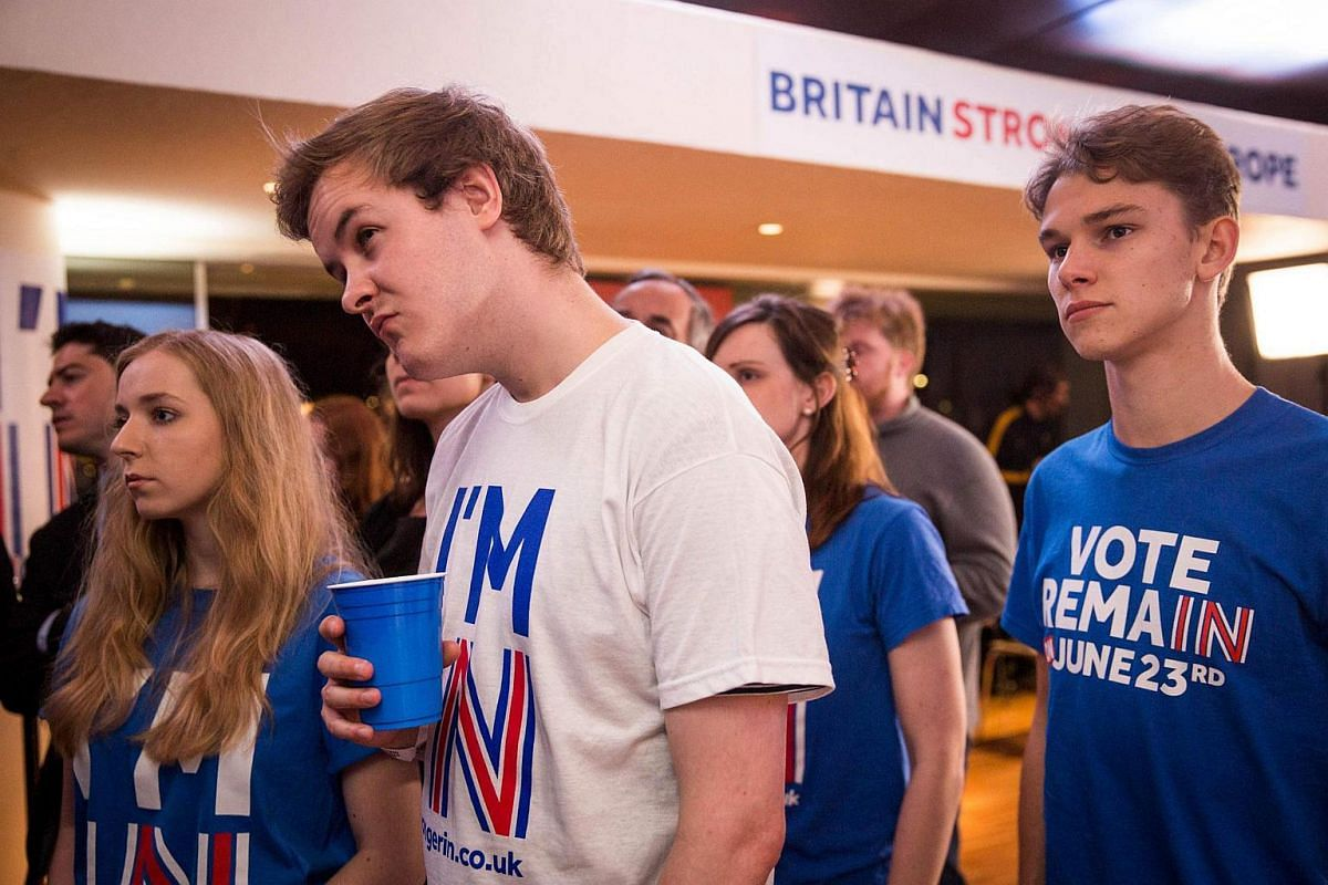 Supporters of the Stronger In Campaign react after hearing the result from Orkney in the EU referendum at a results party at the Royal Festival Hall in London on June 24.