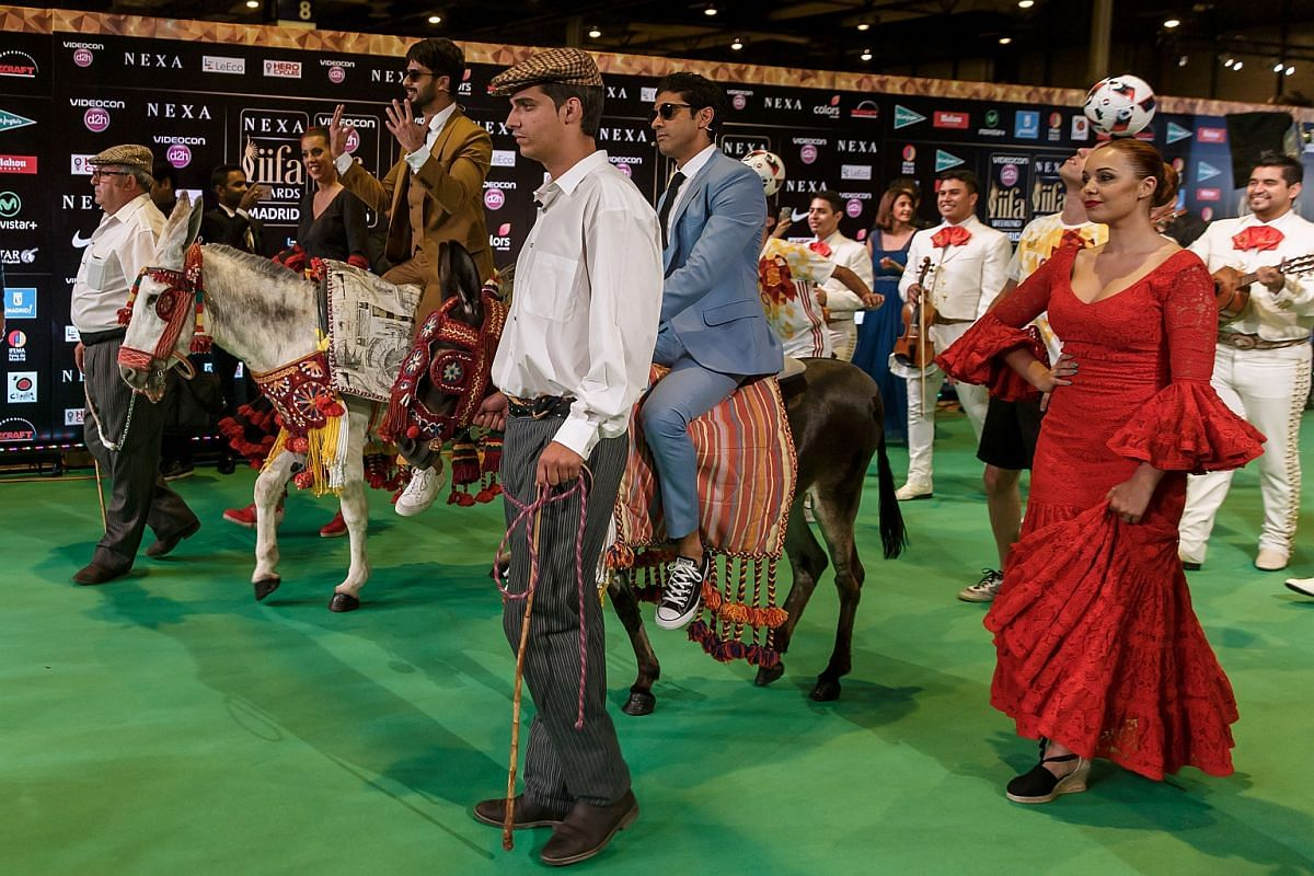 Indian Bollywood actors and event hosts Shahid Kapoor (second from left) and Farman Akhtar (centre) arrive on donkeys to pose on the green carpet few moments before the 17th edition of IIFA Awards.