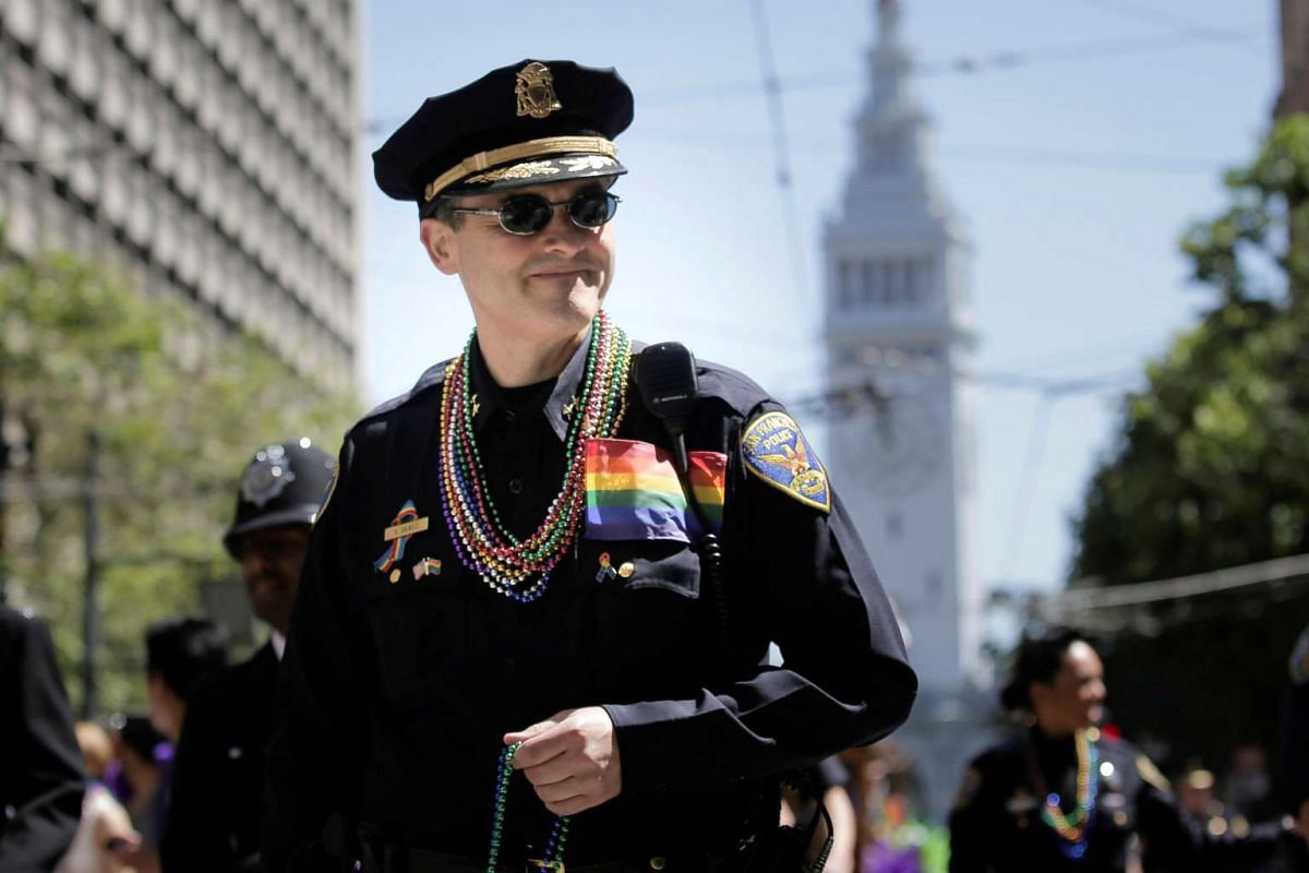 A San Francisco Police officer marches in the San Francisco LGBT Pride Parade on June 26, 2016.