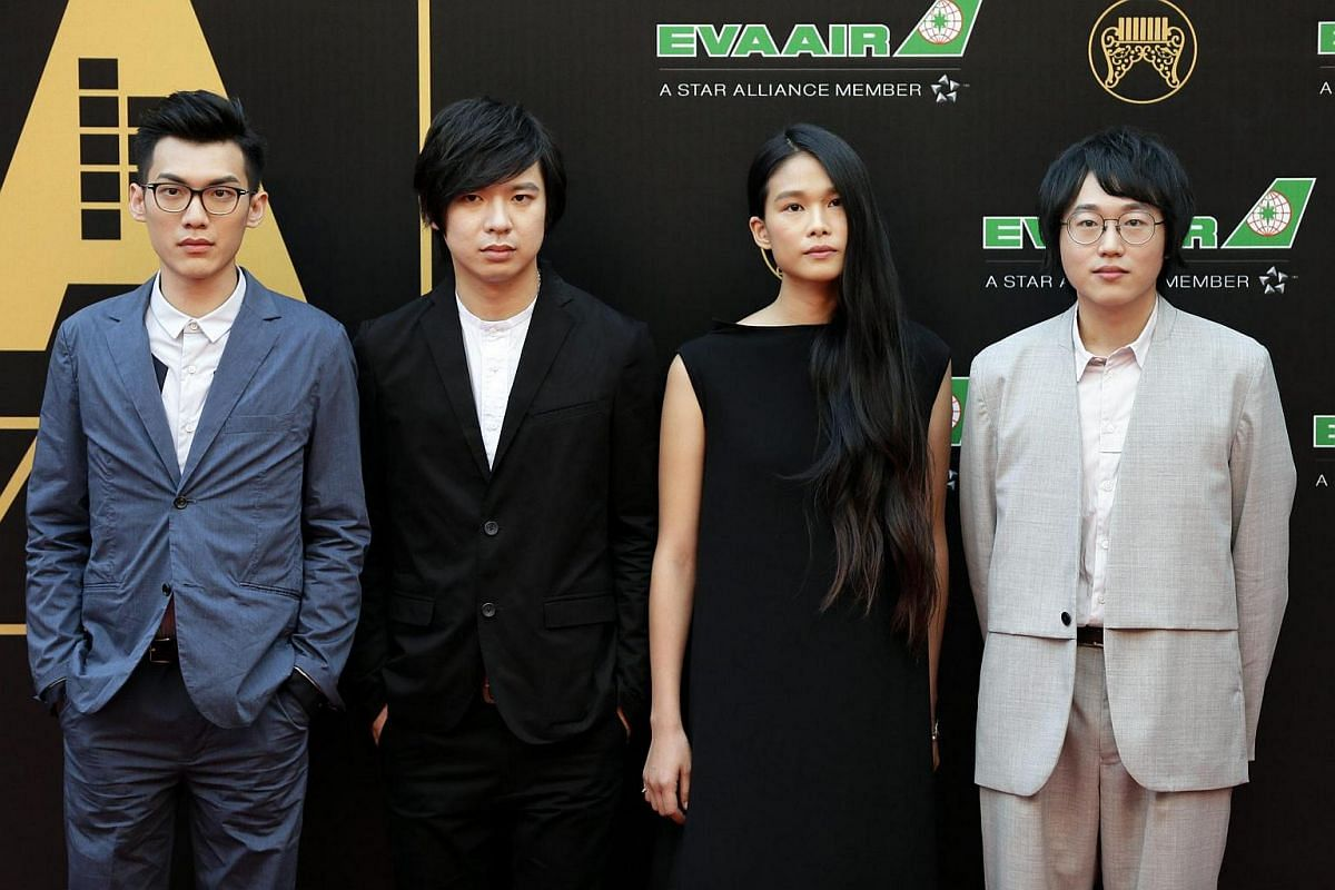 Group band Hello Nico of Taiwan arrive for the 27th Golden Melody Awards.