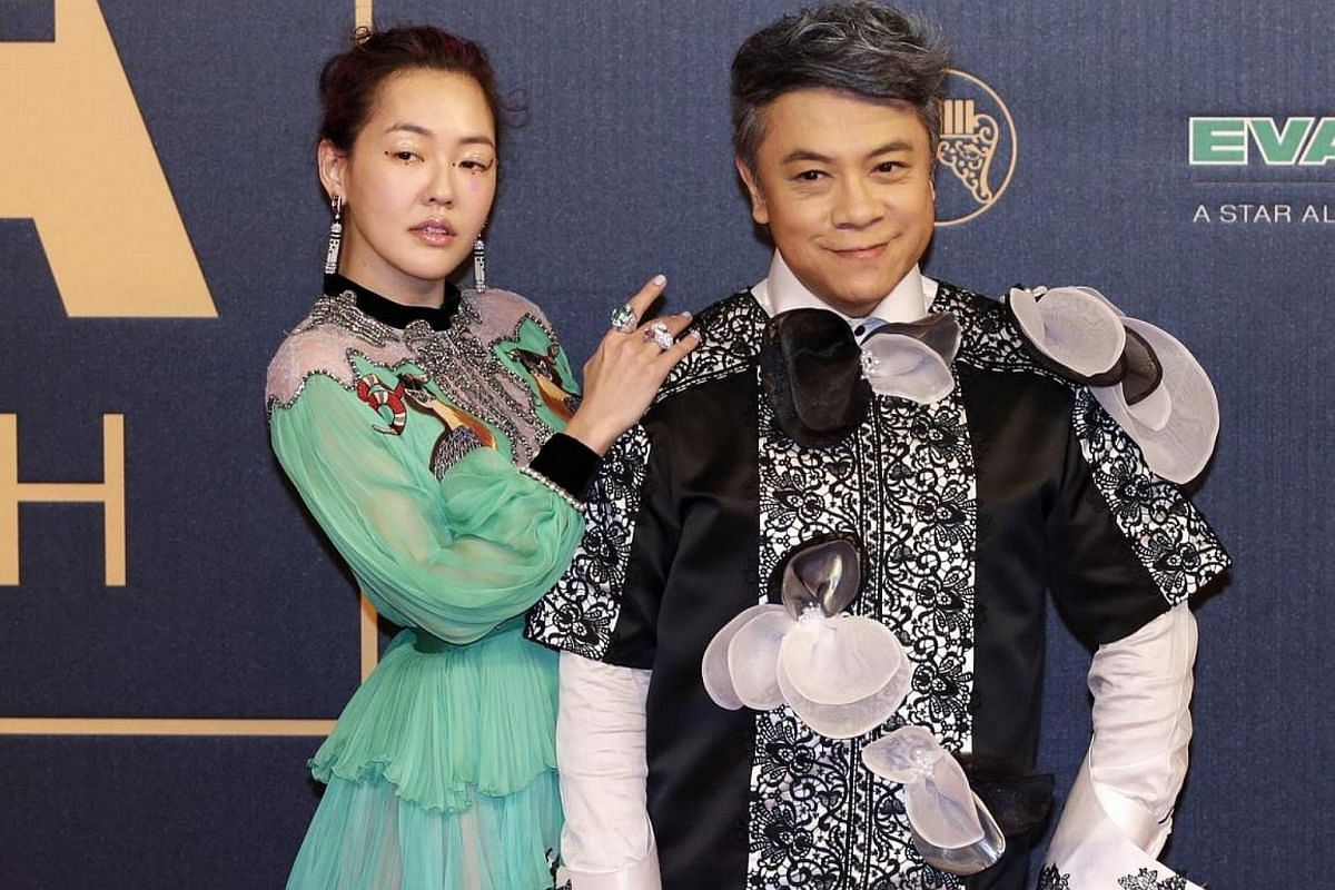 Singer Dee Hsu robs the colour palette while TV host Kevin Tsai seems to be trying to atone for monochrome with detailing.