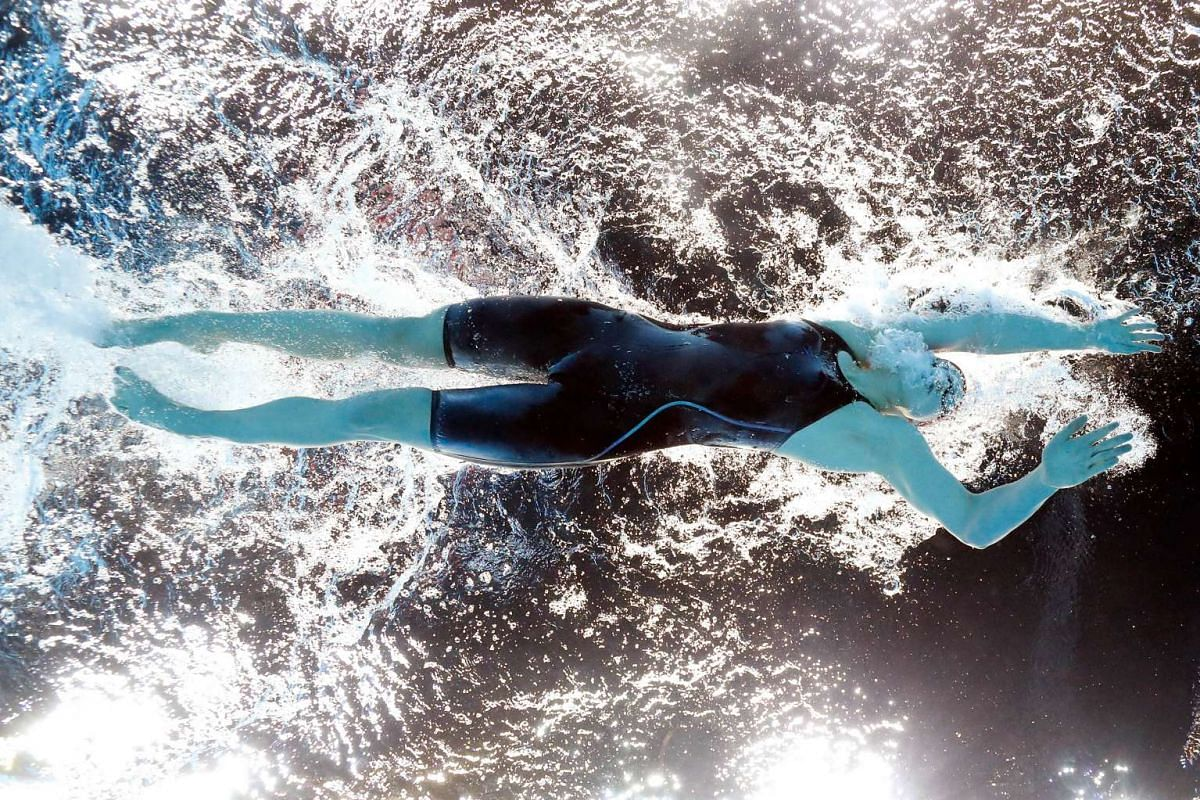 Katie Ledecky of the United States competes in a heat for the Women's 400m freestyle on Day 2 of the US Olympic Team Swimming Trials in Omaha, Nebraska, on June 27, 2016.