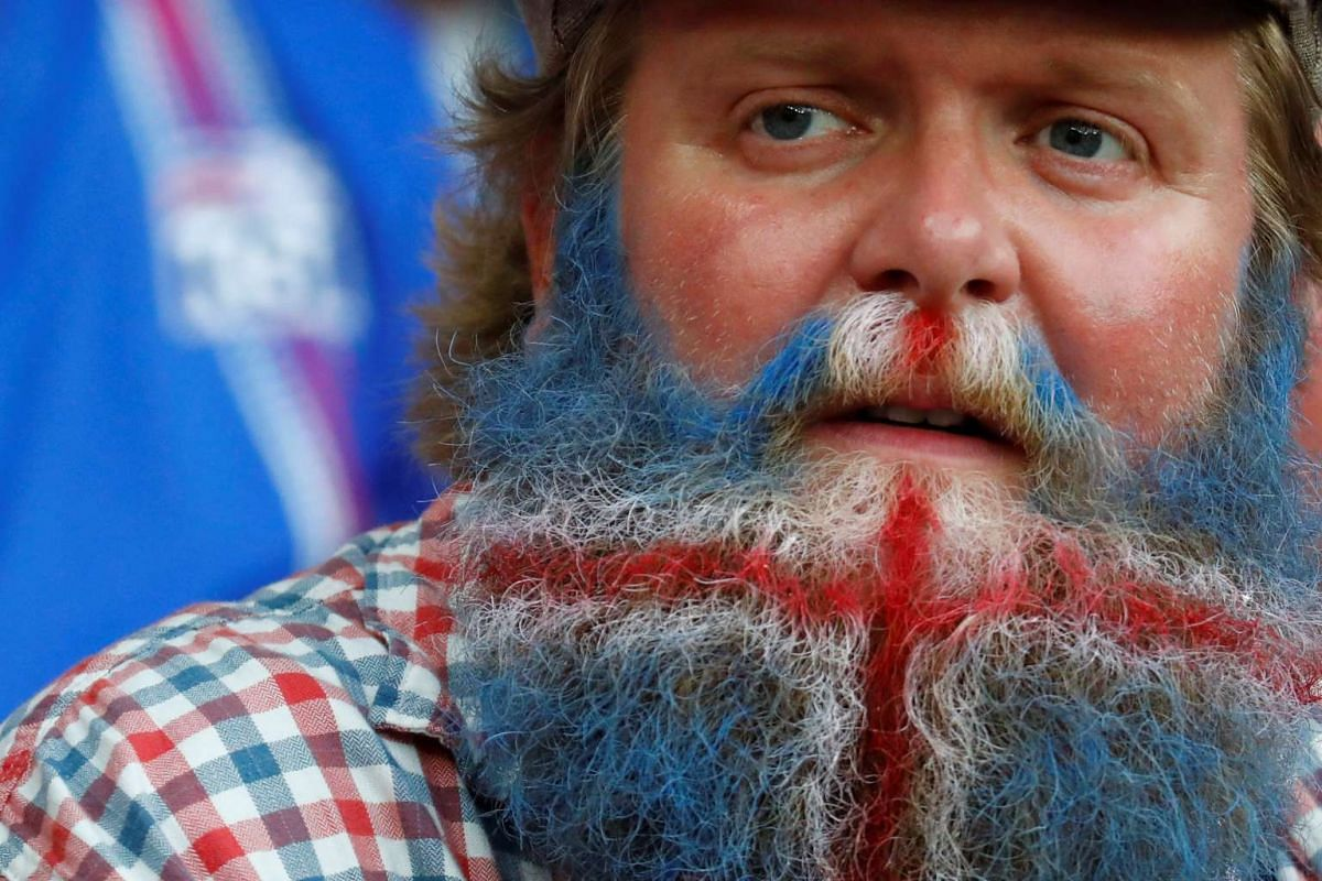 An Iceland fan before the Euro 2016 football match between England and Iceland at the Stade de Nice in Nice, France, on June 27, 2016.