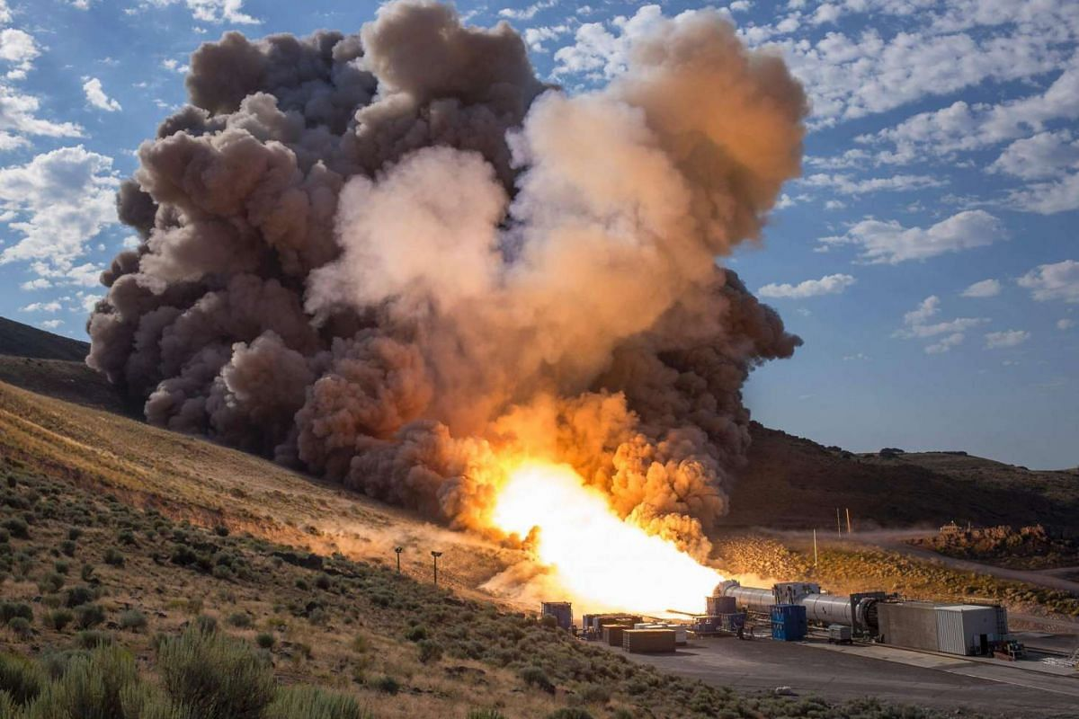 The second and final qualification motor (QM-2) test for the Space Launch System's booster is seen on June 28, 2016, at Orbital ATK Propulsion Systems test facilities in Promontory, Utah.