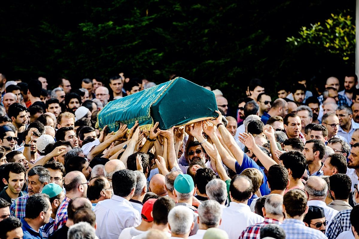 People carry the coffin of suicide attack victim Mohammad Eymen Demirci on June 29, 2016 in Istanbul during his funeral a day after a suicide bombing and gun attack targeted Istanbul's Ataturk airport, killing 41 people.