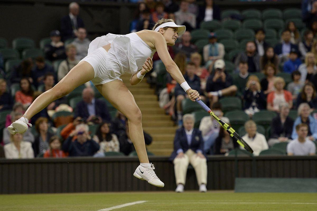 Canada's Eugenie Bouchard in action against Slovakia's Magdalena Rybarikova.