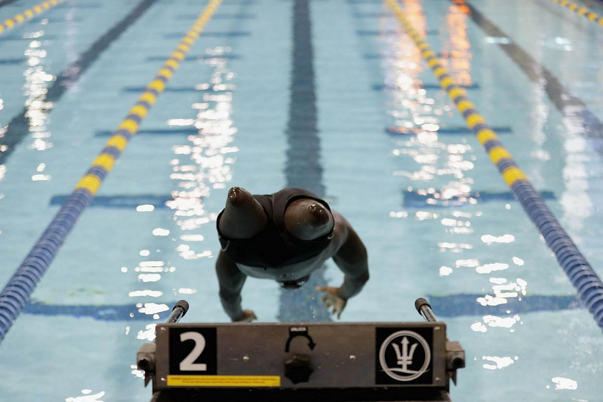 A competitor warms up ahead of the finals of the 2016 US Paralympic Trials Swimming at Mecklenburg County Aquatic Center on July 1 in Charlotte, North Carolina.