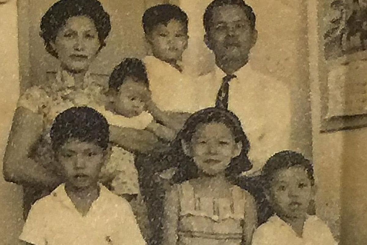My Life So Far: Mr Wong Wei Teck as a toddler; and with his family (above, in a 1960s picture). He is in the foreground on the left.