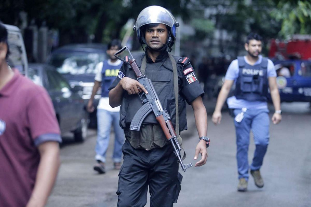 A member of the Rpid Action Batallion is seen near the Holey Artisan Bakery in Dhaka, Bangladesh on July 2.