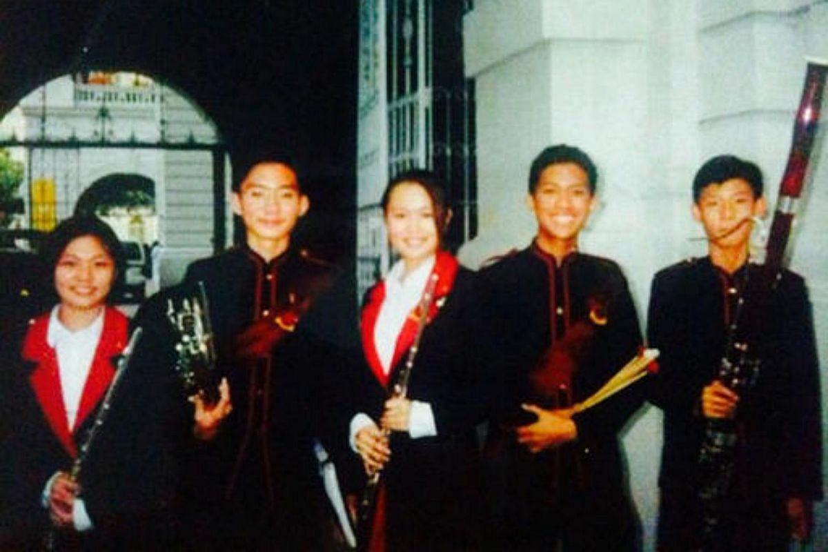 Drum majors and band majors from Junyuan secondary school after their Singapore Youth Festival performance in 2003.