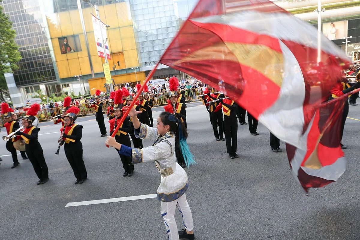 West Spring Display Band from West Spring secondary school performing at Parade of Bands held in Orchard Road on July 2.