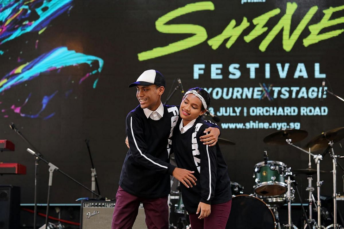 Hip hop sibling-pair Dewi Sandra Bte Norman (right) and Andi Putra Bin Norman (left) from Northbrooks secondary school.