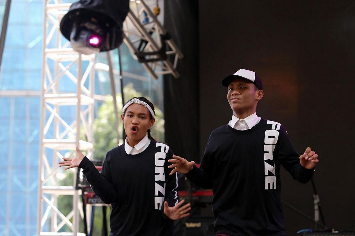 Hip hop sibling-pair Dewi Sandra Bte Norman (left) and Andi Putra Bin Norman (right) from Northbrooks secondary school.
