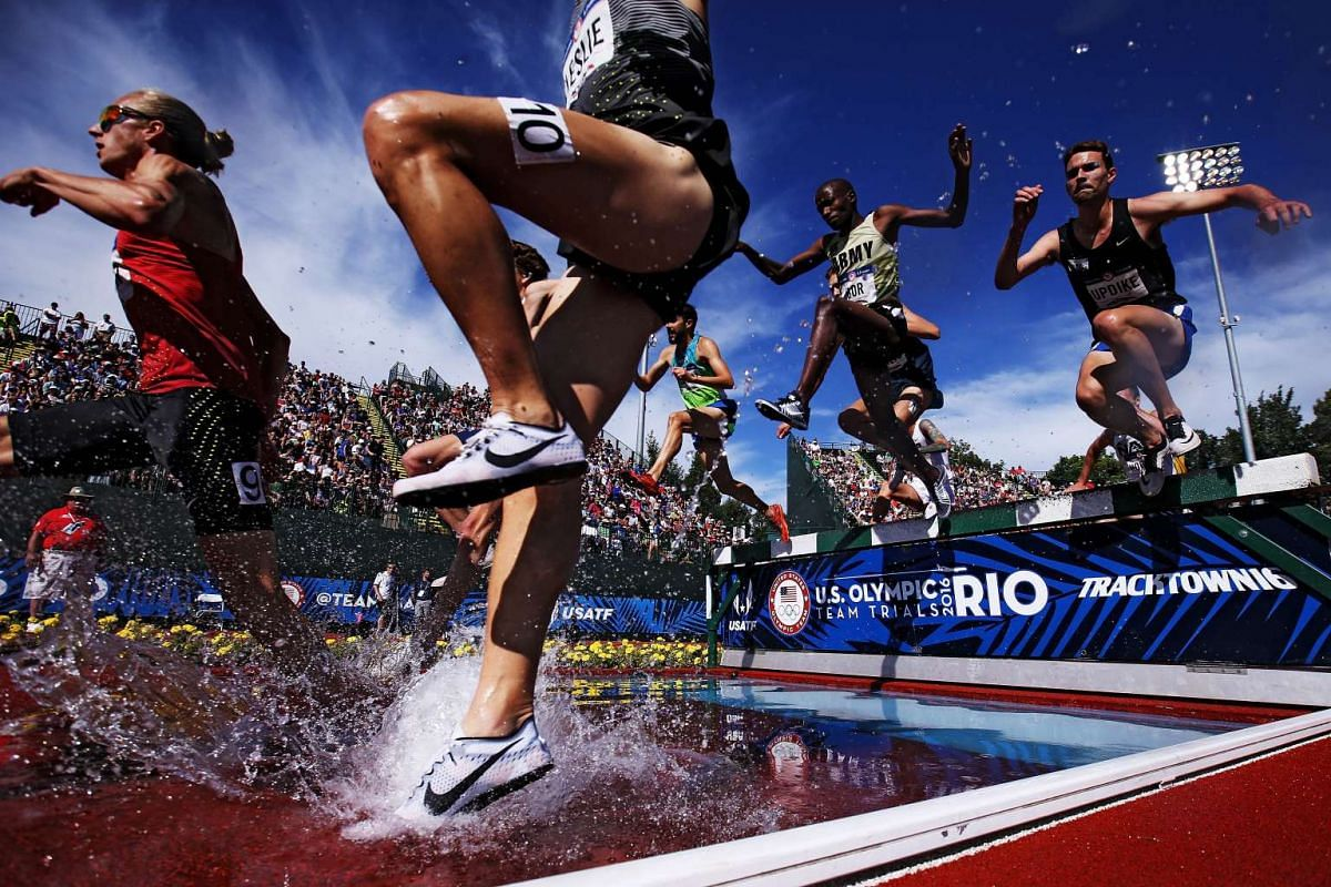 Participants at the men's 3,000m Steeplechase at the 2016 US Olympic Track & Field Team Trials at Hayward Field in Eugene, Oregon, on July 4, 2016.