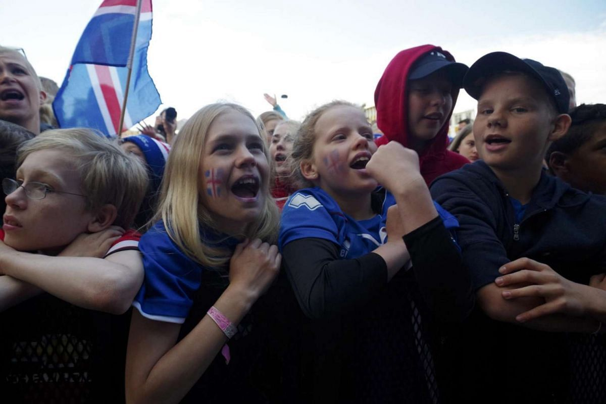 Iceland fans celebrate their team returning home after the Euro 2016 in Reykjavik, Iceland.