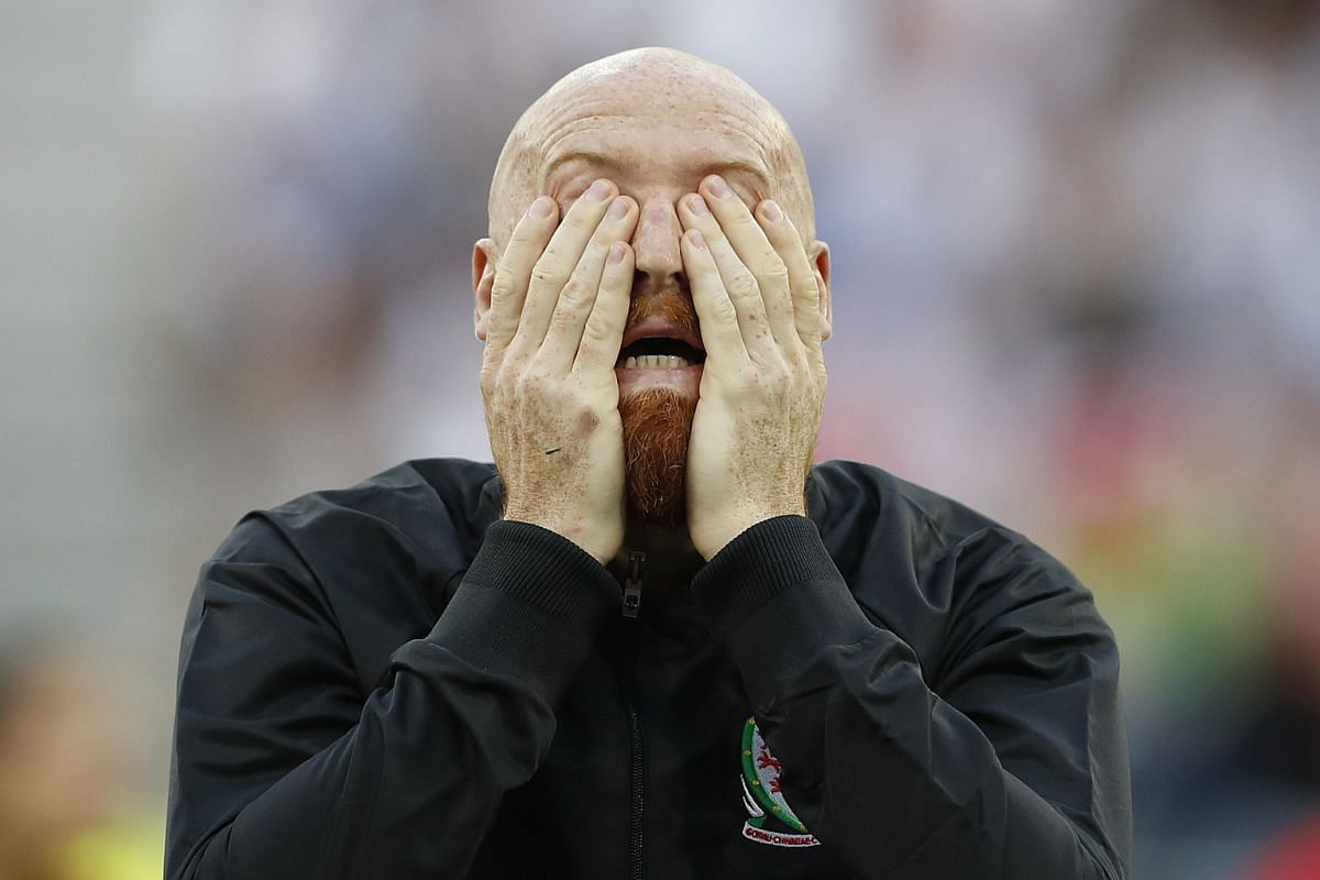 Wales' James Collins during the singing of the national anthems before the Euro 2016 game against Portugal.