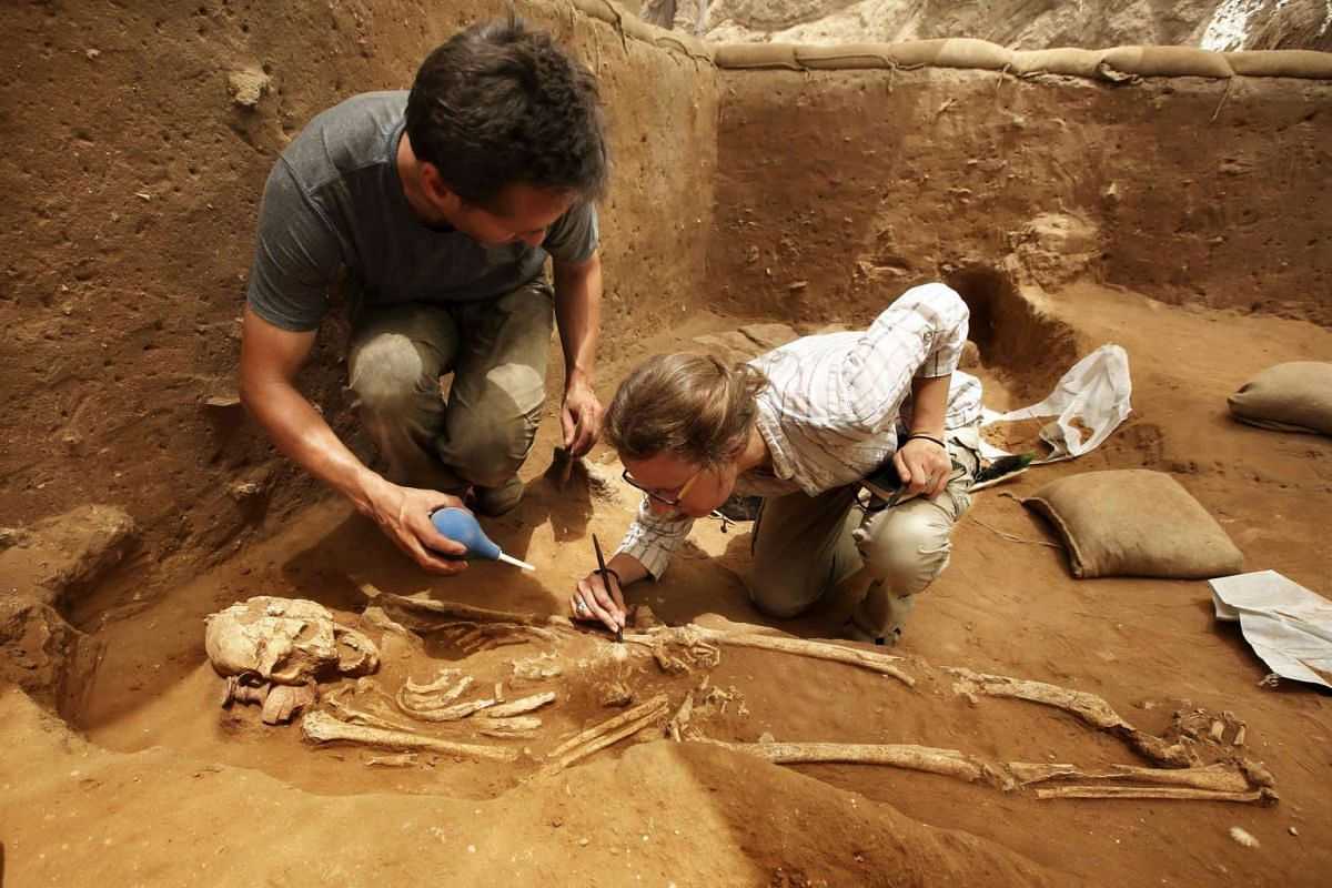 Archaeologists working carefully to excavate a skeleton, at the Philistine cemetery in Ashkelon National Park, on June 28, 2016.