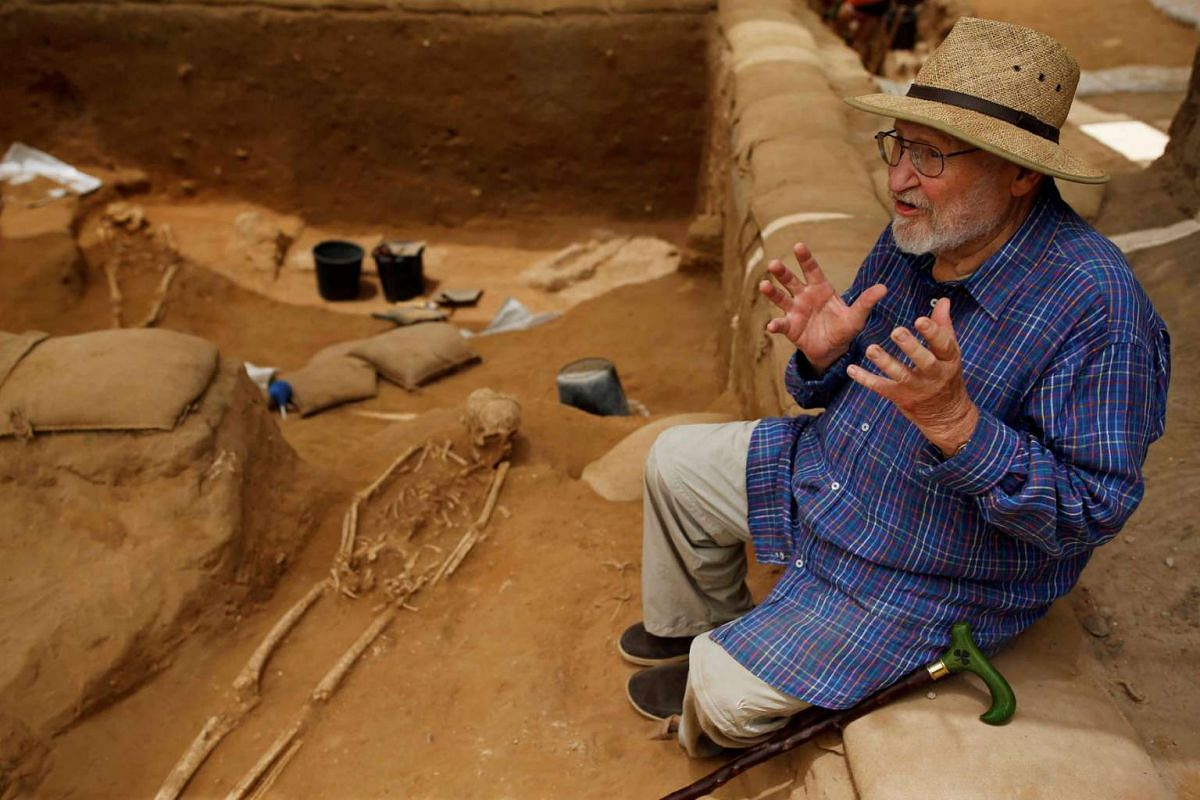 Professor Lawrence E. Stager, Dorot Research Professor of the Archaeology of Israel at Harvard University, speaking to media near a partially unearthed skeleton, in Ashkelon National Park, on June 28, 2016.