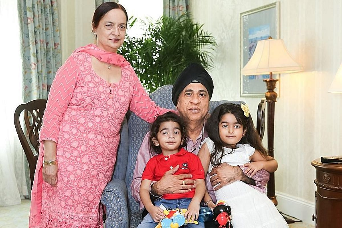 My life so far: Mr Chopra's father Narwant and mother Jaspinder with their grandchildren, Armaan, four, and Misha, eight (above).