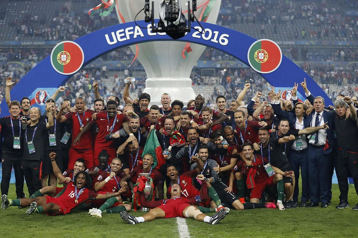 Portugal celebrate with the trophy after winning Euro 2016.