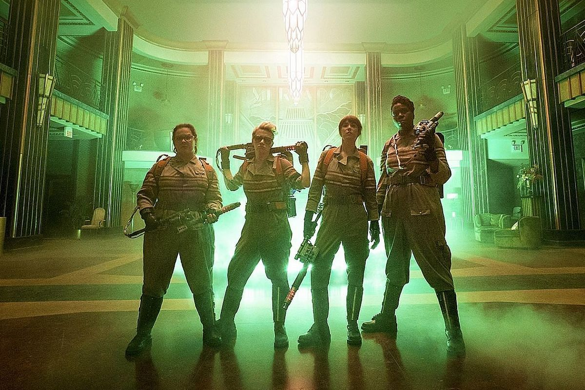 The new Ghostbusters' (above from left) Melissa McCarthy, Kate McKinnon, Kristen Wiig and Leslie Jones; and the old Ghostbusters' Bill Murray, Harold Ramis and Dan Aykroyd.