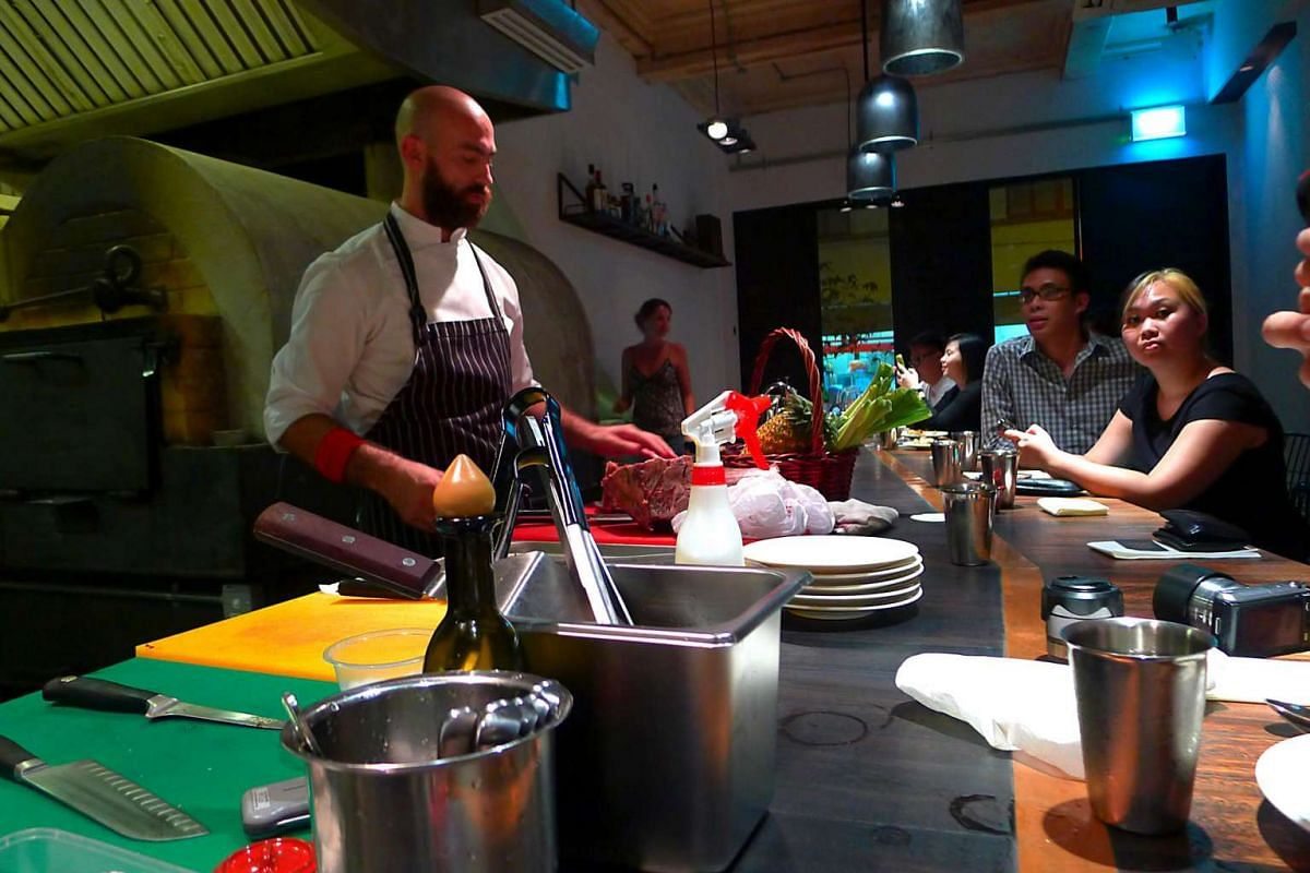 Australian chef David Pynt in action during dinner service at Burnt Ends.