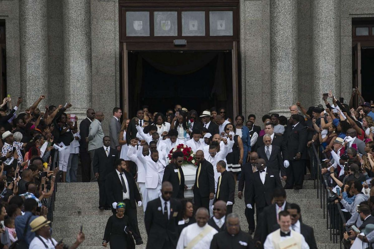 Pallbearers carry the casket of Philando Castile after his funeral at the Cathedral of St Paul, on July 14, 2016, in St. Paul, Minnesota.