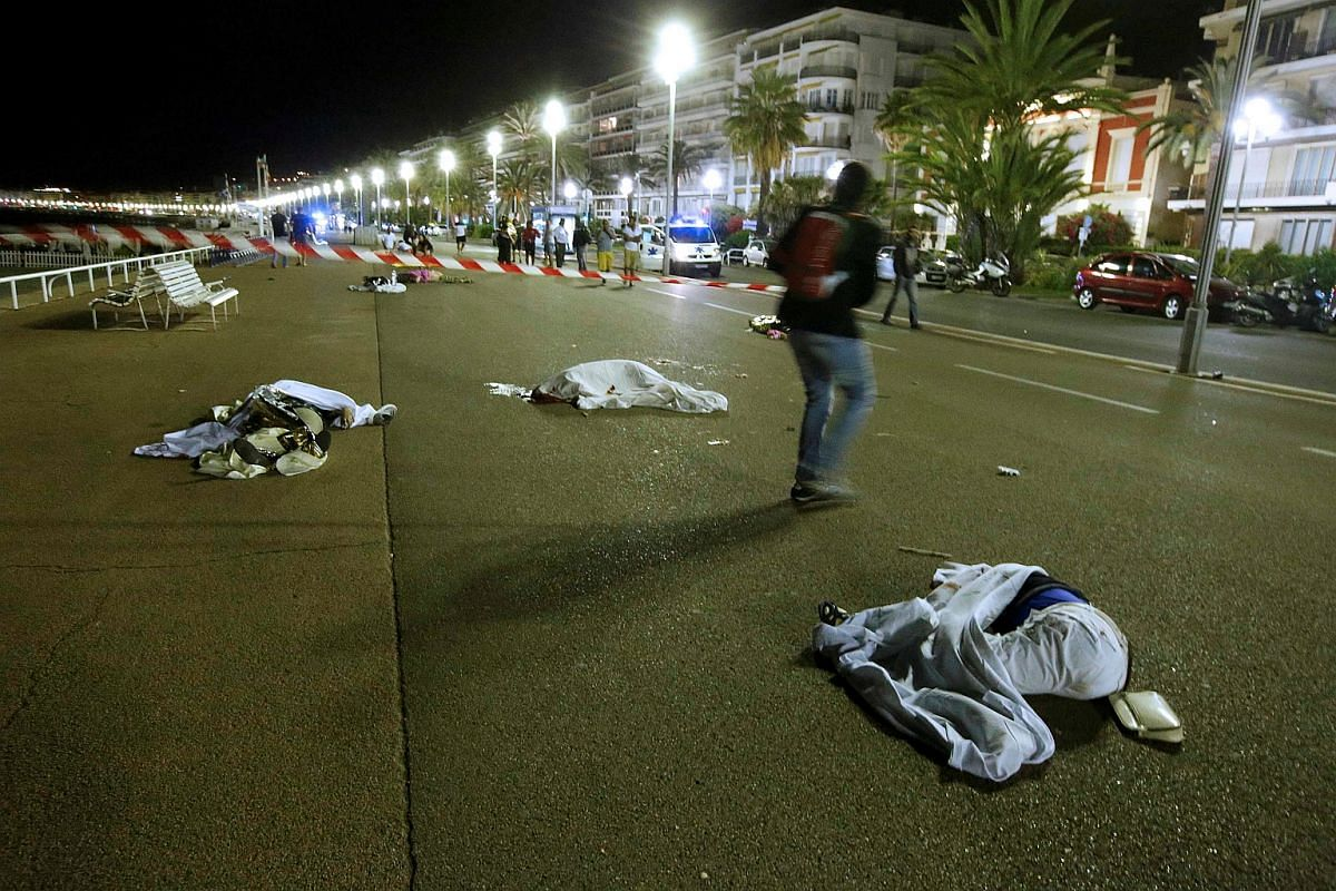 Bodies are seen on the ground in the aftermath of the attack.