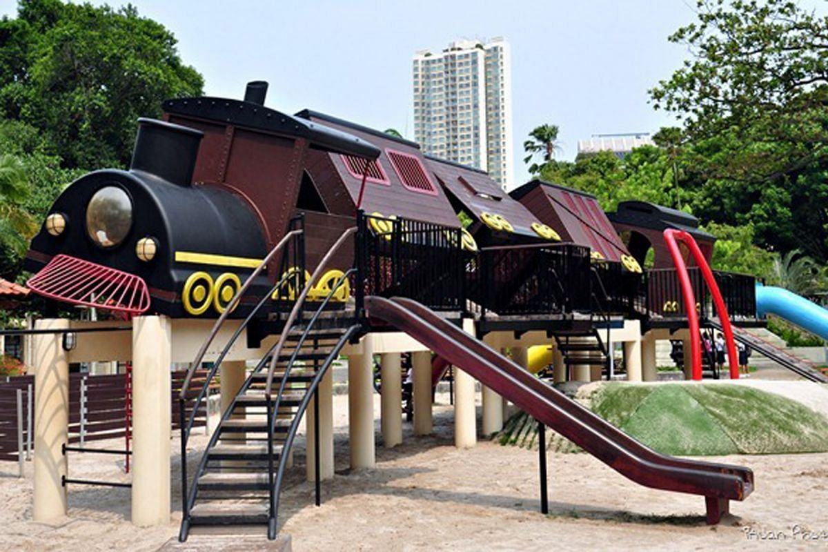 MR KENNY CHUA of Swan-Li, which helped develop the train (above) at the Tiong Bahru Park playground.