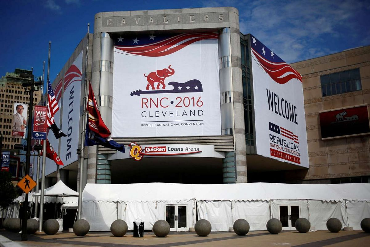 The Quicken Loans Arena is seen as setup continues in advance of the Republican National Convention in Cleveland, Ohio on July 16, 2016.