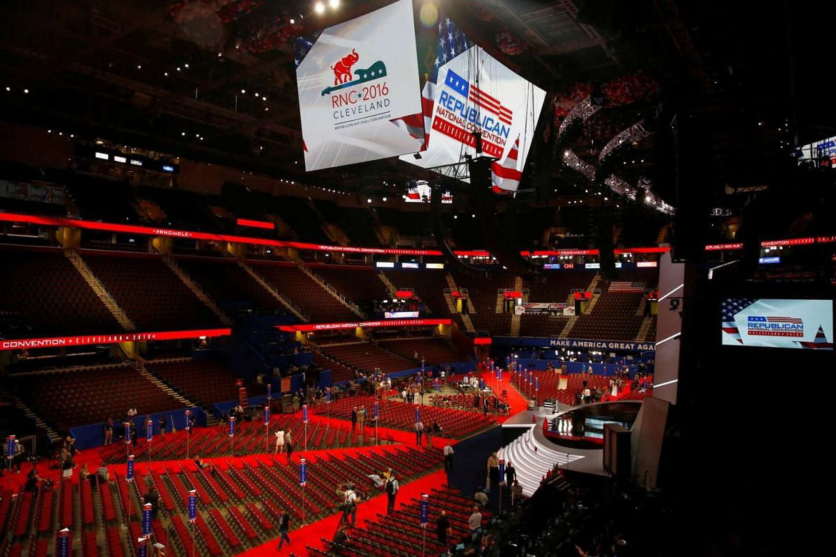 Workers are seen on the floor of the Quicken Loans Arena as setup continues in advance of the Republican National Convention in Cleveland, Ohio on July 16, 2016.