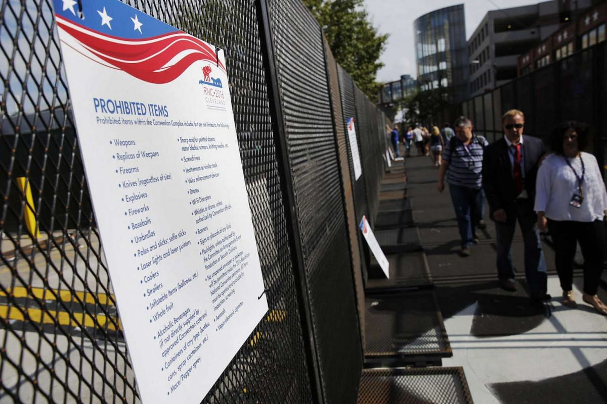 A sign listing prohibited items is seen amid preparations for the arrival of visitors and delegates for the Republican National Convention on July 16, 2016, in Cleveland, Ohio.
