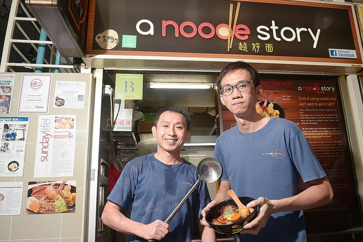 Zi char eateries New Ubin Seafood (far left) and JB Ah Meng always draw crowds at meal times. Mr Gwern Khoo (above left), 35, and Mr Ben Tham, 34, own A Noodle Story Mr Douglas Ng, 25, owner of The Fishball Story