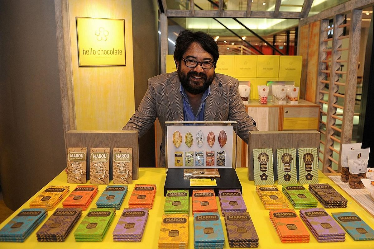 French-Japanese Samuel Maruta (left) is one of two co-founders of Marou Faiseurs de Chocolat, which uses cacao beans from Vietnam.