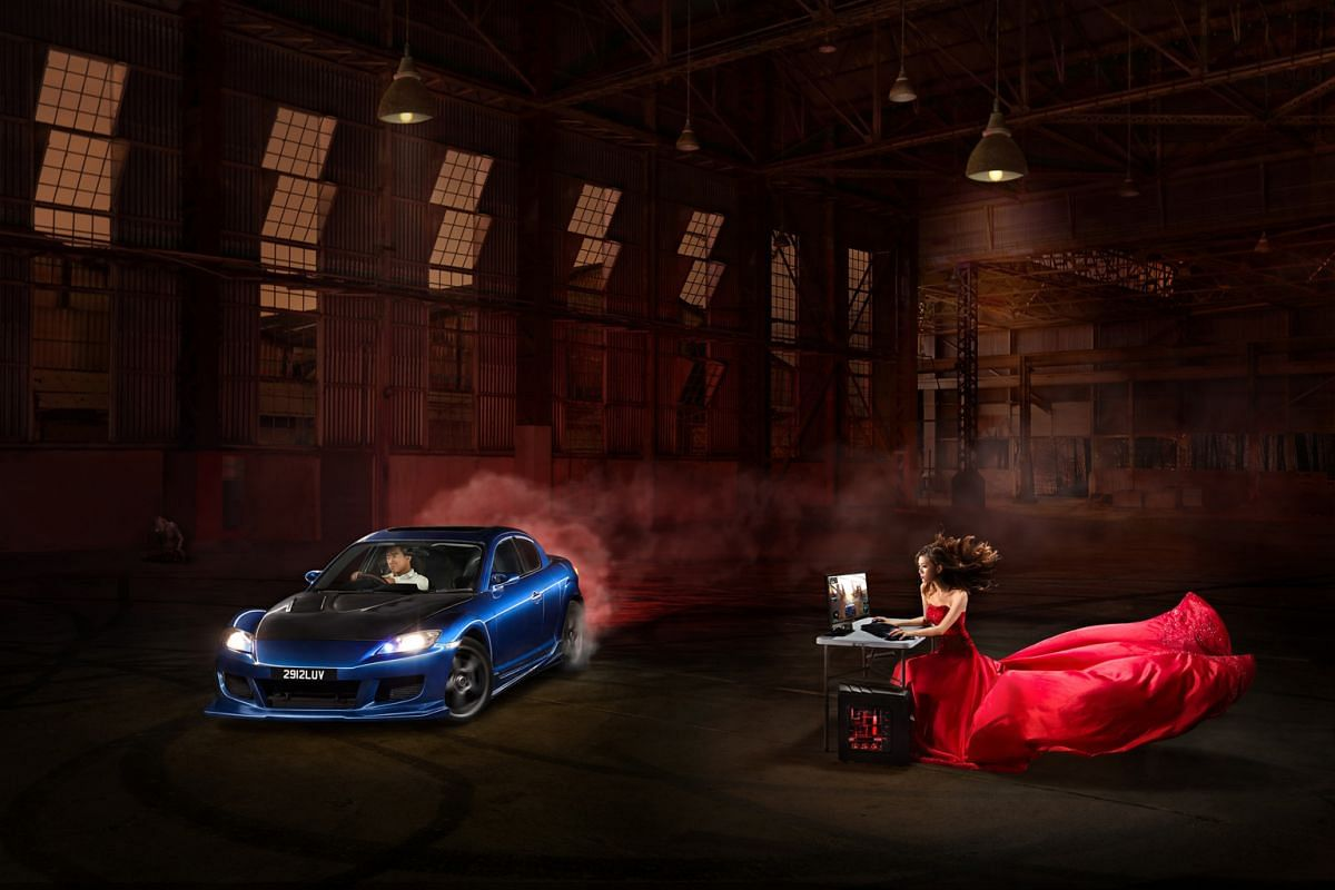 Couple Douglas Lin and Charmaine Lim's pre-wedding photo shoot (above) combines his interest in car drifting and her love for gaming into one image.