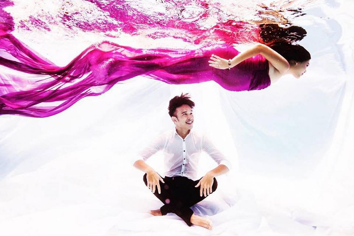 Ms Aqaiyah and her husband Danial Ashriq (both above) did a maternity shoot underwater, with her wearing a gown made by her mother.